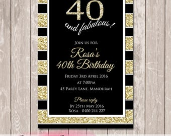 Glittery Bling Personalised Birthday Invitation - YOU PRINT