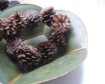 Vintage Green Floral Painted Tole Bowl Tray