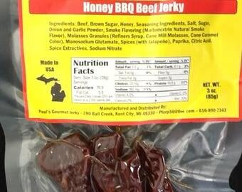 Honey BBQ Gourmet Jerky 3oz pkg