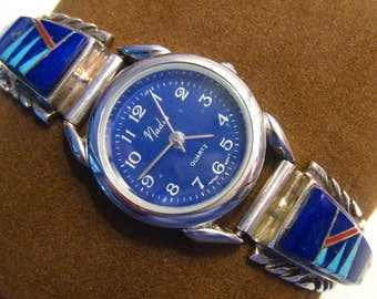 """SALE Southwestern Woman's Watch. Sterling Tips. Lapis, Turquoise & Coral. 1/4"""" W. Stainless Expansion Band.  Blue Face. Nadia. WORKING Order"""