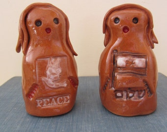 PEACE and SHALOM GOLEMS - Golem One of a Kind Magical Mythical Protector Ceramic Figurine
