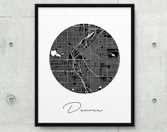 Denver Urban Map Poster. Denver City Street Map Print. Black White Denver Colorado Map Print. Minimalist Circle Travel Gift. Printable Art