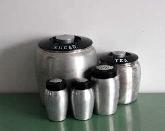 Retro Chrome Kromex brand Canister Set// salt, pepper, sugar shaker, sugar and tea containers, retro kitchen decor