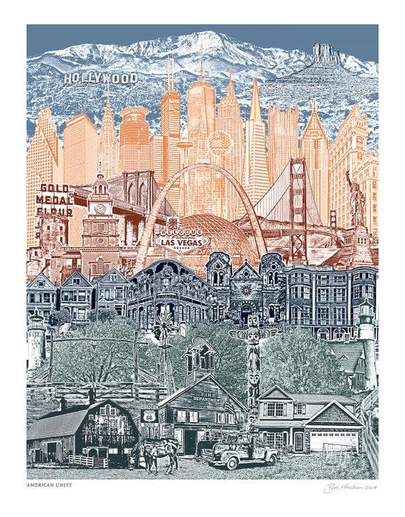 American Unity - USA Skyline - Art Print - Wall Art - 8.5x11, 11x14, and 16x20 Poster of the USA Landmarks