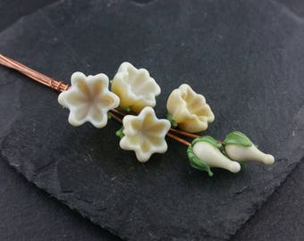 MTO 6 magnolia flower lampwork glass headpins | Made to order | Glass bellflowers