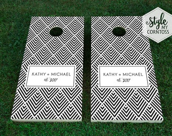 Custom Cornhole Set | Chevron Monogram | Corntoss | Bag Toss | Baggo | Wedding | Party | Lawn Game | Modern | Minimalistic | Black & White