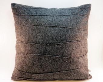 Dark Gray Modern Pillow, Charcoal Gray Pillow, Wool Felt Decorative Pillow