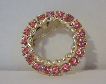1960s Gold and Pink Rhinestone Circle Brooch - vintage scatter pin