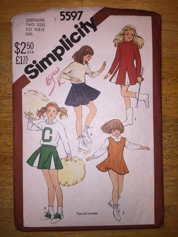 Girls Cheerleader and Skating Costume Simplicity Vintage Sewing Pattern 5597 80s Size 10-12
