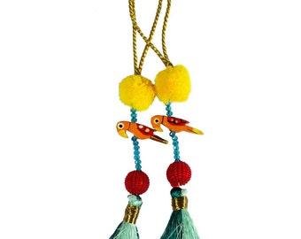Camel Decoration Boho Tassel 1 Pair - Hot Pink and Green Bohemian Tassel / Embellishment / Decoration / Women Dress Tassels