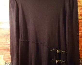 Vintage 1990s Black Sweater Dress With Side Buckles