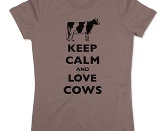 Keep Calm and Love Cows (holstein) T-Shirt - Soft Cotton T Shirts for Women, Men/Unisex, Kids
