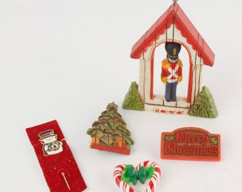 Vtg 1970s Hallmark Wood Look Christmas Pins Heart Tree Snowman Soldier Ornament