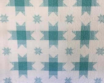 Blue and White Quilt, Lap Quilt, Couch, Sofa Throw, Falling Stars, Teal, Baby Boy Toddler, Handmade Quilt