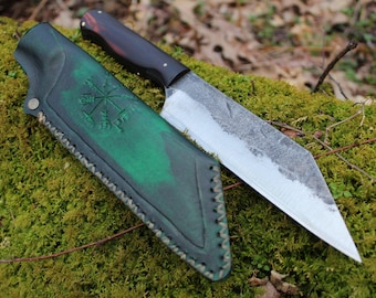 Camp Seax and dragon bracer set---Hand Forged by Lunar Light Forge
