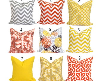 OUTDOOR Pillows, Outdoor Pillow Covers, Orange Pillow Cover, Yellow Gray, Decorative Pillow, Gray Pillow, Grey Pillows,, All Sizes, Cushion