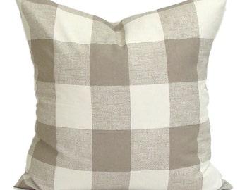 Pillow, Tan Throw Pillow, Pillow Cover, Plaid Pillow, Buffalo Check Pillow, Buffalo Plaid. Tan Euro Sham. Tan Cushion. ALL Sizes,Cm, Neutral