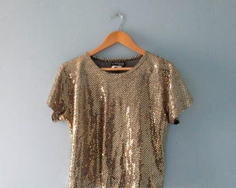ON SALE Vintage gold metallic crop top / 1980s sparkly box top / gold and black shiny top / sparkly disco shirt / size petite medium