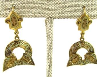 Vintage PIERCED Damascene Tri Color Dangle Earrings, Made in Spain, Vintage Damascene Toledo Jewelry, Vintage Spanish Jewelry,  7