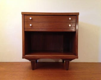 Walnut Mid Century Modern NIGHTSTAND / Side Table w Drawer Vintage Formica Laminate Top mcm