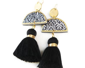 Fabulous Tassel ART Earrings - Black and Gold - Limitless Boho Luxe - Next Romance Jewels Melbourne Australia
