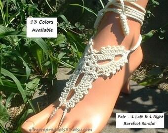 Beach Wedding FLAT Shoes Barefoot Sandals SIZED Crochet Wedding SHOES Barefoot Bridal Flats Shoe for Wedding walk on Beach Bridal Shoes