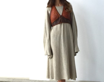 Handmade 70s Style Dress - one size OS- brown - neutral - oatmeal - bell sleeves - unfinished
