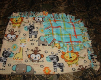 Zoo Animals Double Sided Fleece Blanket, no sew tied blankets, infant baby toddler, lions giraffe zebras, baby shower gifts, girls gift