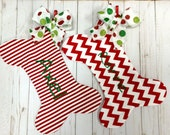 Dog Bone Christmas Stocking, Red Chevron Dog bone Christmas Stocking, Red Stripe Pet  Stocking, Dog Bone Christmas Pet Stocking