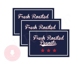 INSTANT DOWNLOAD Baseball Fresh Roasted Peanuts Stickers (Baseball Birthday, Baseball Party, Sports, Printable Stickers, Baseball Birthday)