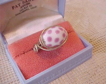 Pretty Silver Wire Ring with Polka Dot Glass Bead Top