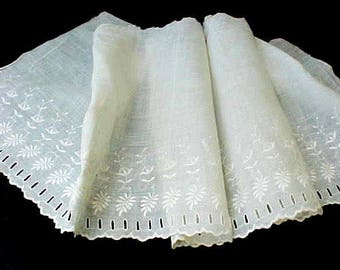 Pretty Victorian Era Petticoat Trim with Embroidered Leaves