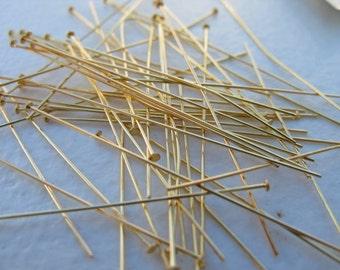 "3"" Gold Plated 21 gauge Brass wire Headpins"