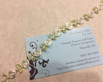 1 yard of 1/2 inch Ivory and Green Floral braid like trim by MarlenesAttic - Item AA44