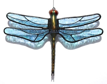 Stained Glass DRAGONFLY Suncatcher, Glacier Ice, Sparkling Light Ice Blue, Iridescent Wings & Handcast Metal Body, USA Made, Blue Dragonfly