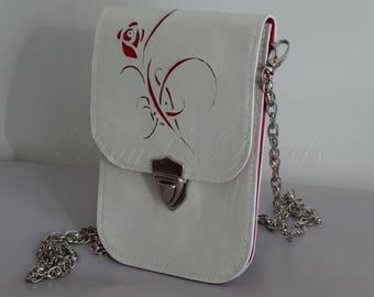 Mini Sacoche Cuir Bandoulière Chaîne - Rose Incrusté Cuir - Mya pour Smartphone - Cousu Main / Small Leather Shoulder Bag for Cell Phone