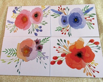 Watercolor Floral Pansy Poppy Handmade Note Cards Thank You Cards Set of 4 with Envelopes