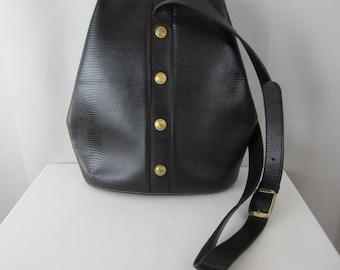 Vintage Didier LaMarthe Leather Shoulder Bag - Large Black Bag - Boho Hobo Bucket Style Accessory  - Long Strap - Unisex Bag