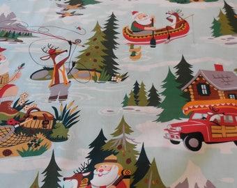 Santa at Sugar Mountain Lake - Alexander Henry Fabric 1 Yard