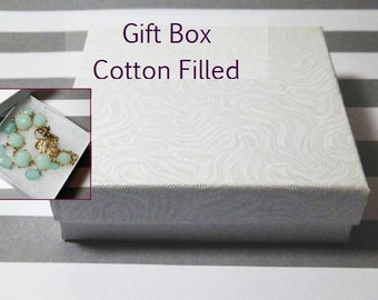 "Gift Box, Cardboard, Cotton Filled, White Satin Finish. 3.5"" x 3.5"". Perfect for Your Gift of Jewelry. Jewelry Not Included."