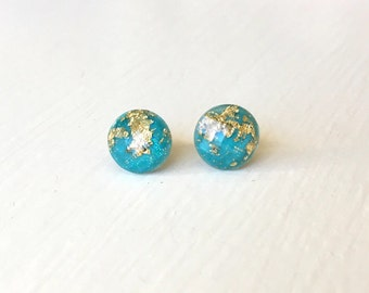 Gold Flecked Blue Stud Earrings