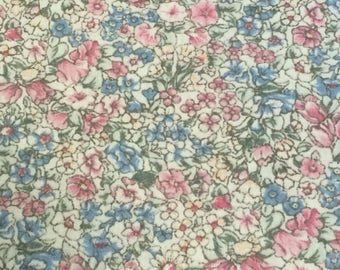 Cotton Fabric / Floral Cotton Fabric / Calico Fabric / Cotton Calico Fabric / Blue Floral Fabric / Fabric / Pink Floral Fabric / 1 Yard