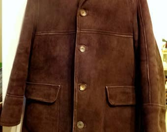 Mens ANTARTEX 100% Sheepskin Shearling Coat 46 L XL Dark Brown Scotland Vintage / Thick Warm Mature Hides / Made in UK