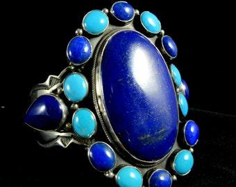 """Navajo Aaron Toadlena~Statement Size~Lapis/Sleeping Beauty Turquoise 925 3"""" Tall Cuff"""