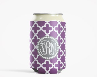Personalized Can Insulator, DIY Custom Bottle Insulated Beverage Container, Lilac Clubs
