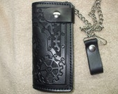 gears long wallet sewn not laced, steampunk wallet, bikers wallet.  ships same day as ordered