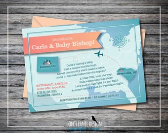 Printable Long Distance Baby Shower Invitation   Coral, Teal Green, Air  Travel   Boy