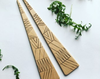 Geo woodburned linework birch Salad Server - pair of one of a kind recycled wood serving utensils gift