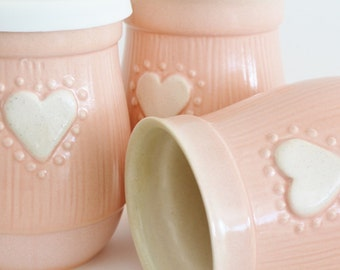 Mom Travel Mug with Silicone Lid, Small Ceramic To Go Coffee Mug, 16 oz Pink Mug with Heart, Small Commuter Mug