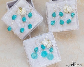 Bridesmaids gift turquoise sterling silver jewelry set, earrings and pendant, turquoise stones, three dainty jewelry sets
